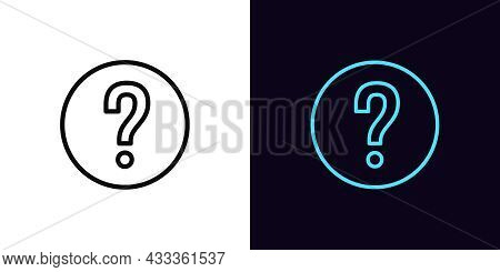 Outline Question Mark Icon, With Editable Stroke. Linear Question Sign, Query Pictogram. Chat Of Sup