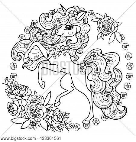 A Beautiful Unicorn With A Long Mane With Roses. Linear Black And White Drawing For Coloring. Round
