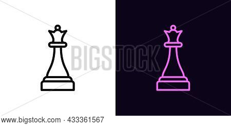 Outline Chessman Queen Icon, With Editable Stroke. Linear Queen Sign, Chess Piece Pictogram. Online