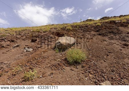Mountainside Of Mount Vesuvius Volcano Covered With Volcanic Tuff, Italy. It Is Located On The Gulf