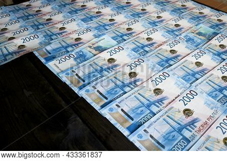 Russian Rubles Money Background. Bills Of 2000 Rubles. Business And Finance Concept.