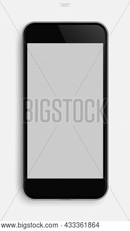 Modern Touch Screen Smartphone With Empty Screen Area For Copy Space. Vector Illustration.