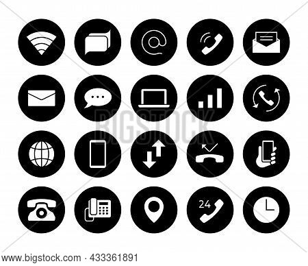 Contact Icons. Phone Communication Pictograms. Email And Text Message Symbols. Mail And Call Black S