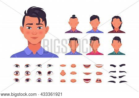 Male Face Constructor. Man Character Avatar Kit With Hair And Face Shapes. Eyes With Eyebrows Collec