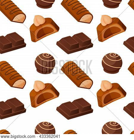 Chocolate Candies Pattern. Seamless Texture Of Delicious Sweets. Milk Cacao Dessert With Nuts And To