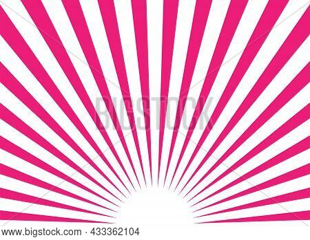 Sunlight Abstract Background. Pink And White Color Burst Background With Spot. Vector Illustration.