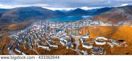 Aerial view of the town of Kirovsk surrounded by Khibiny mountains in Russia