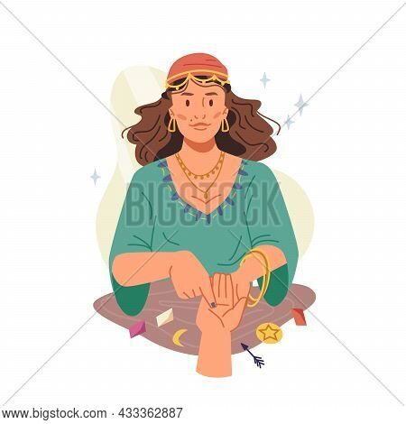 Fortune Teller Woman Guessing And Predicting On Hand Isolated Flat Cartoon Illustration. Vector Supe
