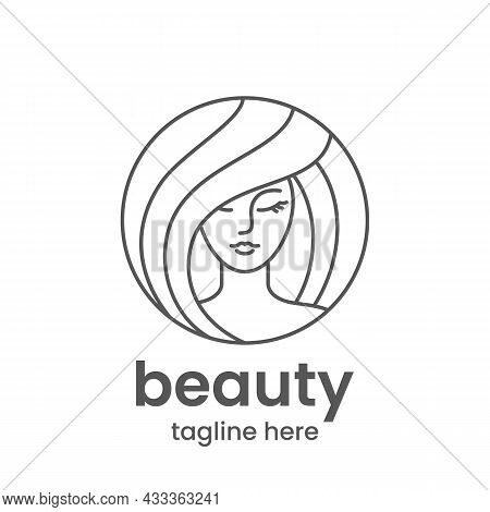 Beauty Emblem Template. Hair Salon Or Beauty Salon Logo Design Template. Abstract Woman Face In One