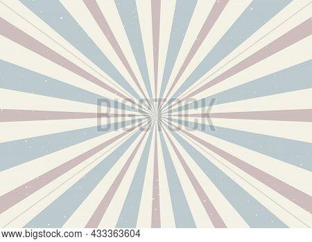 Sunlight Retro Horizontal Background. Pale Red, Blue, Beige Color Burst Background. Vector Illustrat