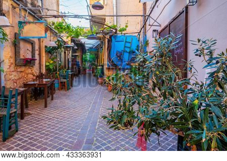 Scenic picturesque streets of Chania venetian town with coloful old houses. Chania greek village in the morning. Chanica, Crete island, Greece