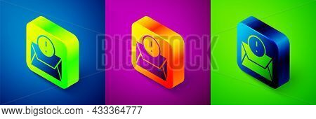 Isometric Envelope Icon Isolated On Blue, Purple And Green Background. Received Message Concept. New