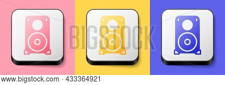 Isometric Stereo Speaker Icon Isolated On Pink, Yellow And Blue Background. Sound System Speakers. M