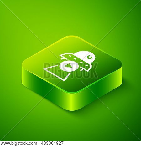 Isometric Science Fiction Icon Isolated On Green Background. Sci Fi Movies, Popular Futuristic Fanta