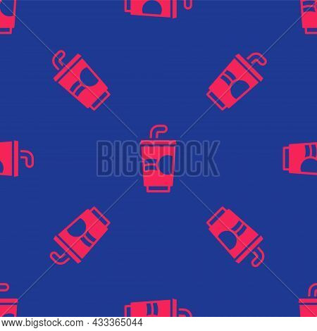 Red Paper Glass With Drinking Straw And Water Icon Isolated Seamless Pattern On Blue Background. Sod