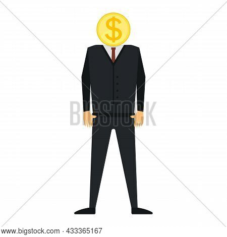 Man, Businessman, Leader, Manager With A Gold Coin Instead Of A Head. Dollar Sign. Vector Illustrati