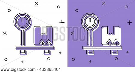 Set Scale With Cardboard Box Icon Isolated On White And Purple Background. Logistic And Delivery. We