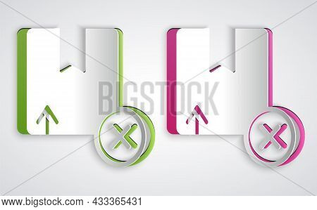 Paper Cut Carton Cardboard Box Icon Isolated On Grey Background. Box, Package, Parcel Sign. Delivery