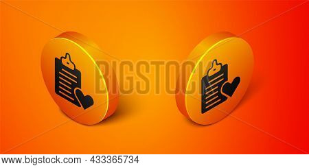 Isometric Medical Clipboard With Clinical Record Icon Isolated On Orange Background. Prescription, M
