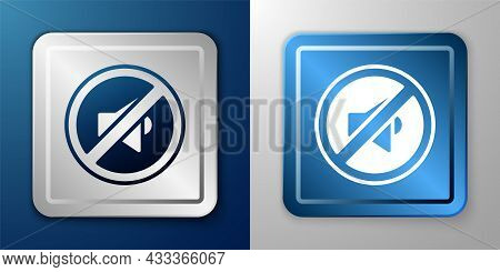 White Speaker Mute Icon Isolated On Blue And Grey Background. No Sound Icon. Volume Off Symbol. Silv