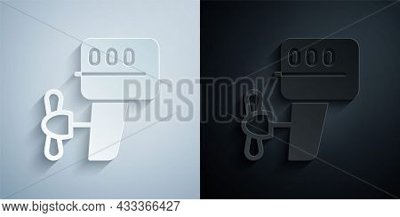 Paper Cut Outboard Boat Motor Icon Isolated On Grey And Black Background. Boat Engine. Paper Art Sty
