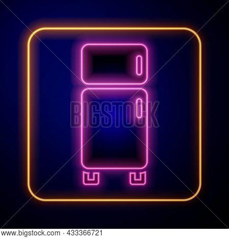 Glowing Neon Refrigerator Icon Isolated On Black Background. Fridge Freezer Refrigerator. Household