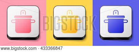 Isometric Cooking Pot Icon Isolated On Pink, Yellow And Blue Background. Boil Or Stew Food Symbol. S