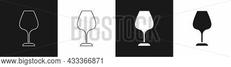Set Wine Glass Icon Isolated On Black And White Background. Wineglass Sign. Vector