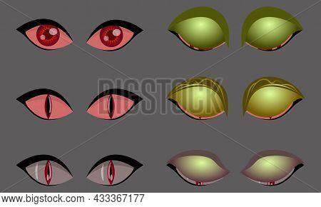 Set Of Monster Evil Eyes On Grey Background, Vector Illustration