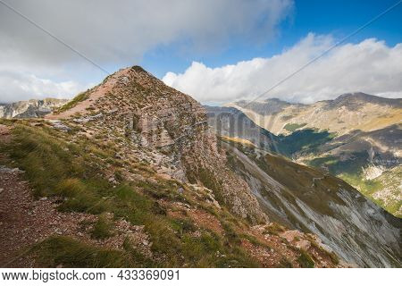 Panoramic View Of The Summit Of Monte Sibilla, The Queen Of Monti Sibillini In The Marche Region, It