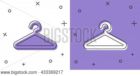 Set Hanger Wardrobe Icon Isolated On White And Purple Background. Cloakroom Icon. Clothes Service Sy