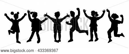 Black Shadow Contour Or Silhouettes Of Cheerful Happy Children, Vector Illustration Isolated On Whit