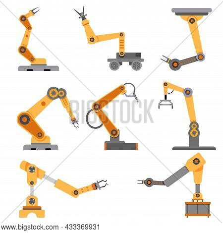 Arm Robots Collection For Industrial Conveyor. Robotic Automated And Robot Arm For Factory, Intellig