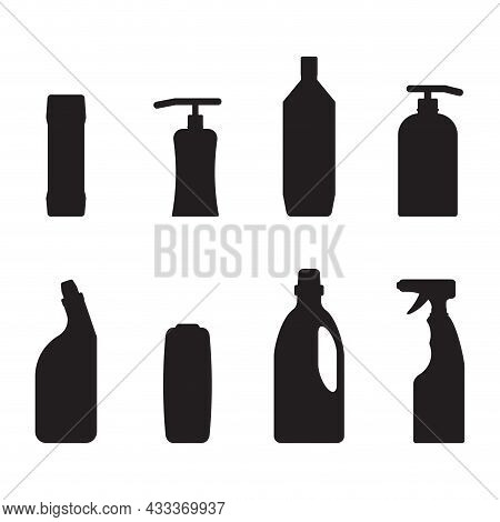Detergent Bottle Black Silhouette Form And Shape. Vector Chemical Domestic For Bathroom And Kitchen,