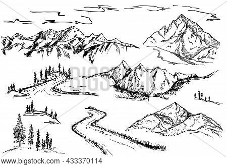 Nature Design Elements. Mountains, Trees And Forest Sketch Set. Mountain Landscape Elements. Hand Dr