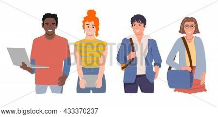 Group Of Diverse Modern Students Or Classmates Standing Together. Portrait Of Happy Multicultural Yo