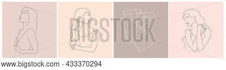 Set Of Abstract Minimal Female Figure. Vector Fashion Illustration Of The Female Body In A Trendy Li