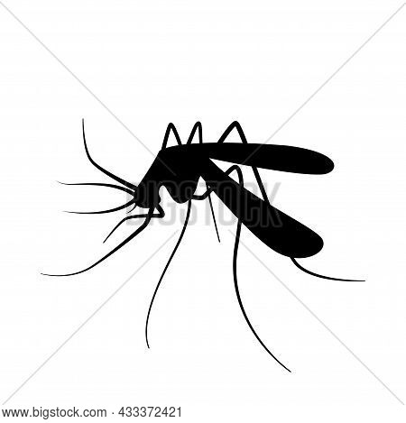 Mosquito Silhouette, Black Mosquitoes Isolated On White, Illustration Mosquito For Clip Art