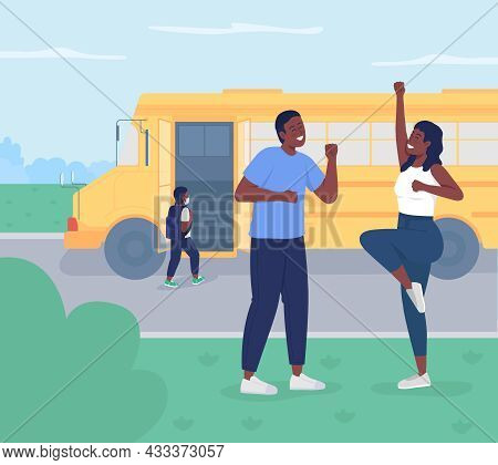 Back To School Flat Color Vector Illustration. Happy Young Parents Sending Child To Preschool. Wife