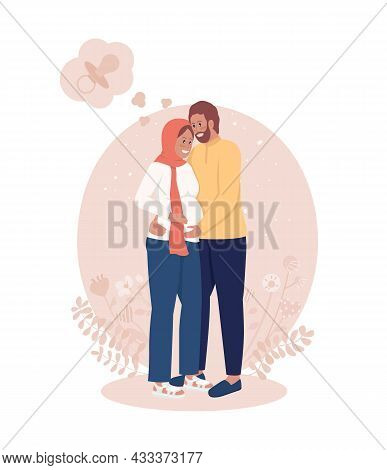 Pregnancy 2d Vector Isolated Illustration. Couple Expecting Baby. Anticipating Child Birth. Wife And