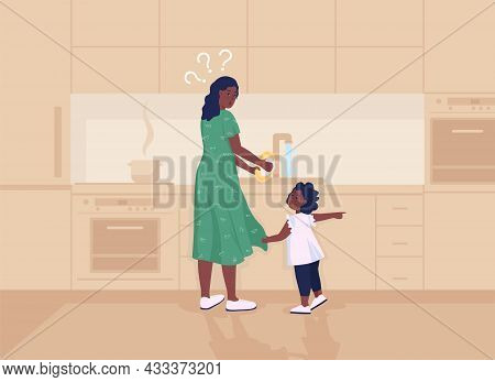 Kid Distracts Mother Flat Color Vector Illustration. Mom Busy Doing Housework. Toddler Demands Atten