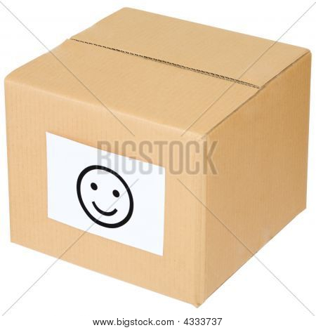 Cardboard Box With A Smiley Sign