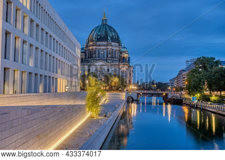 The Modern Backside Of The City Palace, The Cathedral And The River Spree In Berlin At Dawn