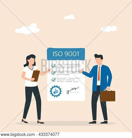 Good Manufacturing Practice. Iso 9001 Certificate With People. Standard For Quality Control, Interna