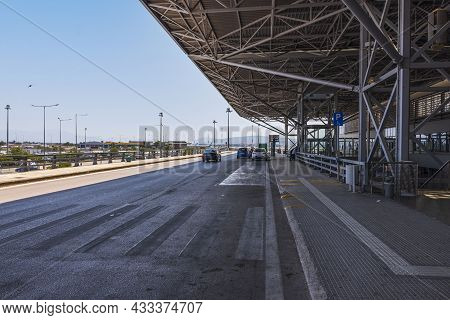 Landscape View Of Outside Area Of Thessaloniki Airport. Greece. Thessaloniki. 09.14.2021.