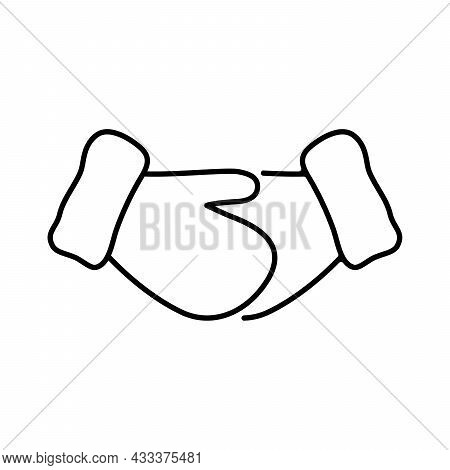 Mitten Icon. Handshake With Gloves. Mittens Icons In Flat Linear Design. Vector Illustration.