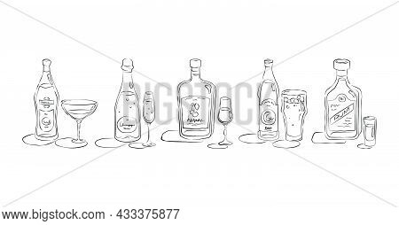 Vermouth, Champagne, Liquor, Beer, Rum. Bottle And Glass In Hand Drawn Style. Restaurant Illustratio