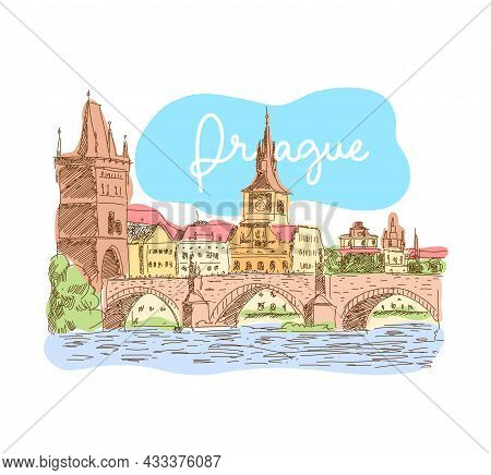 Prague, Czech Republic. Landmark Charles Bridge. Vector Illustration