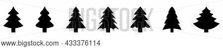 Christmas Tree Icon. Set Of Black Christmas Tree Icons On White Background. Vector Illustration