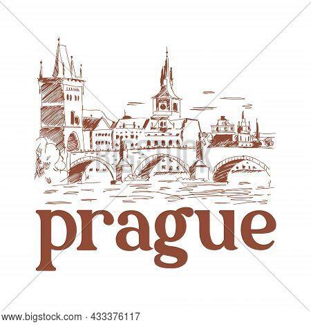 Prague, Czech Republic. Landmark Charles Bridge. Logotope In One Color. Vector Illustration